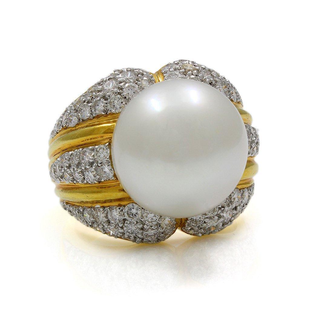 Pearl Diamond 18K Yellow Gold Ring