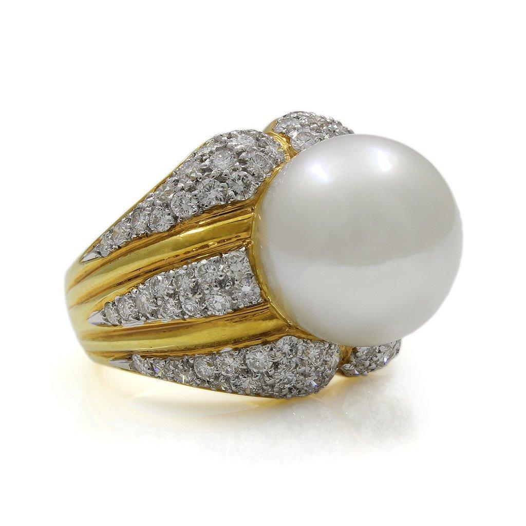 Pearl Diamond 18K Yellow Gold Ring - 2
