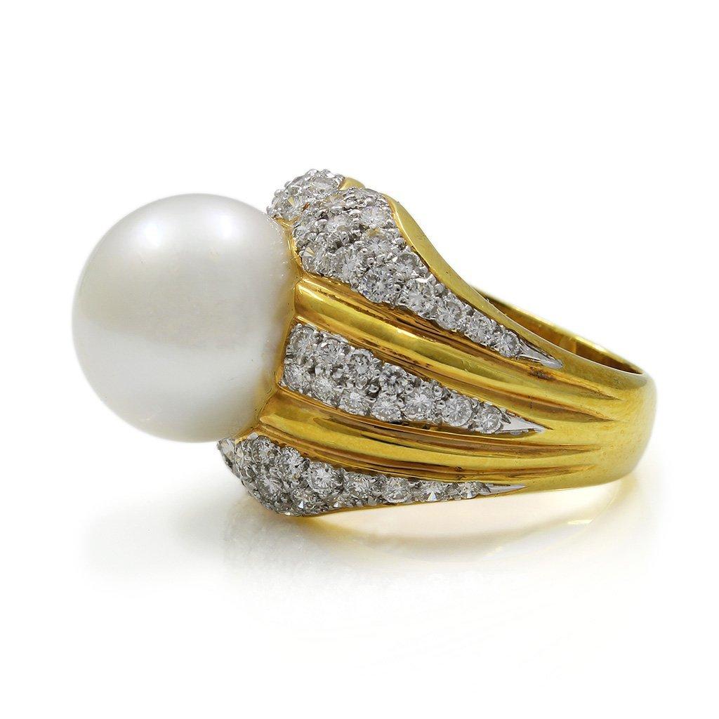 Pearl Diamond 18K Yellow Gold Ring - 3