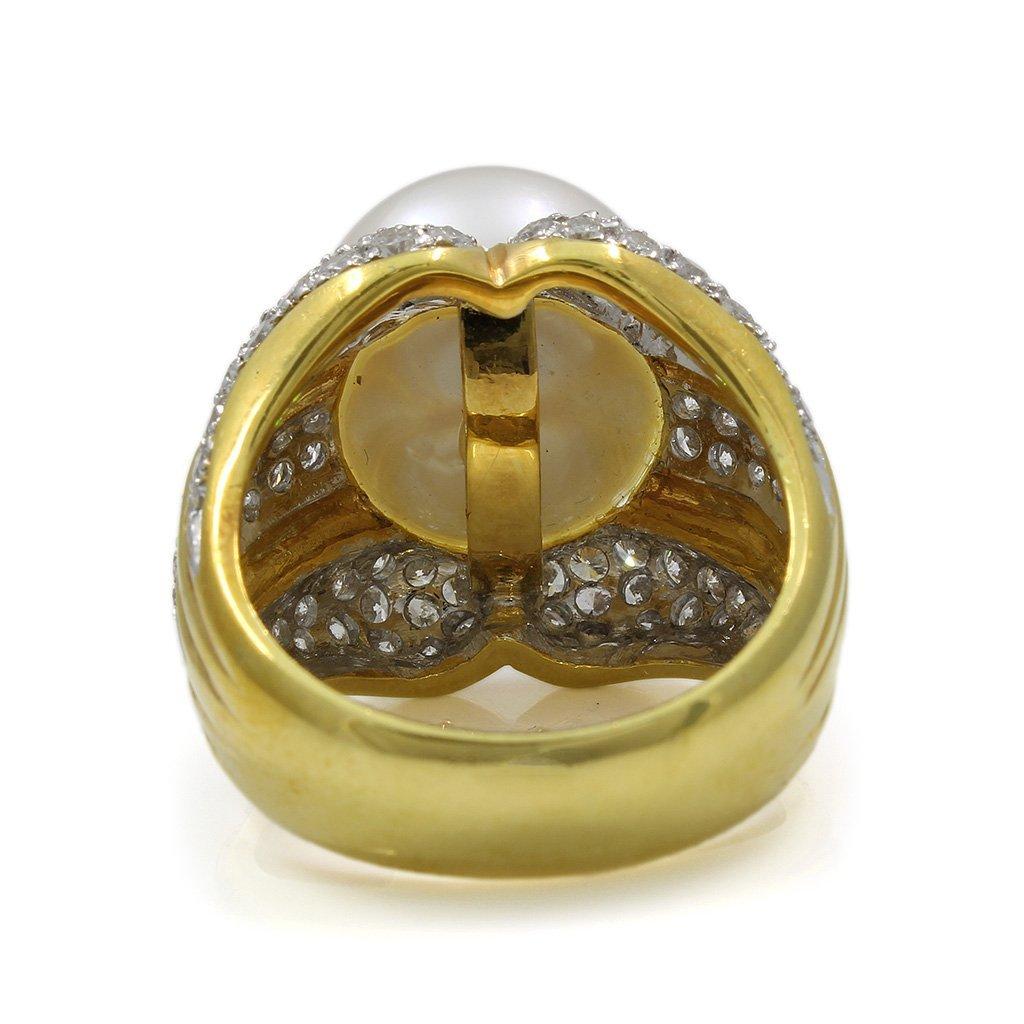 Pearl Diamond 18K Yellow Gold Ring - 4