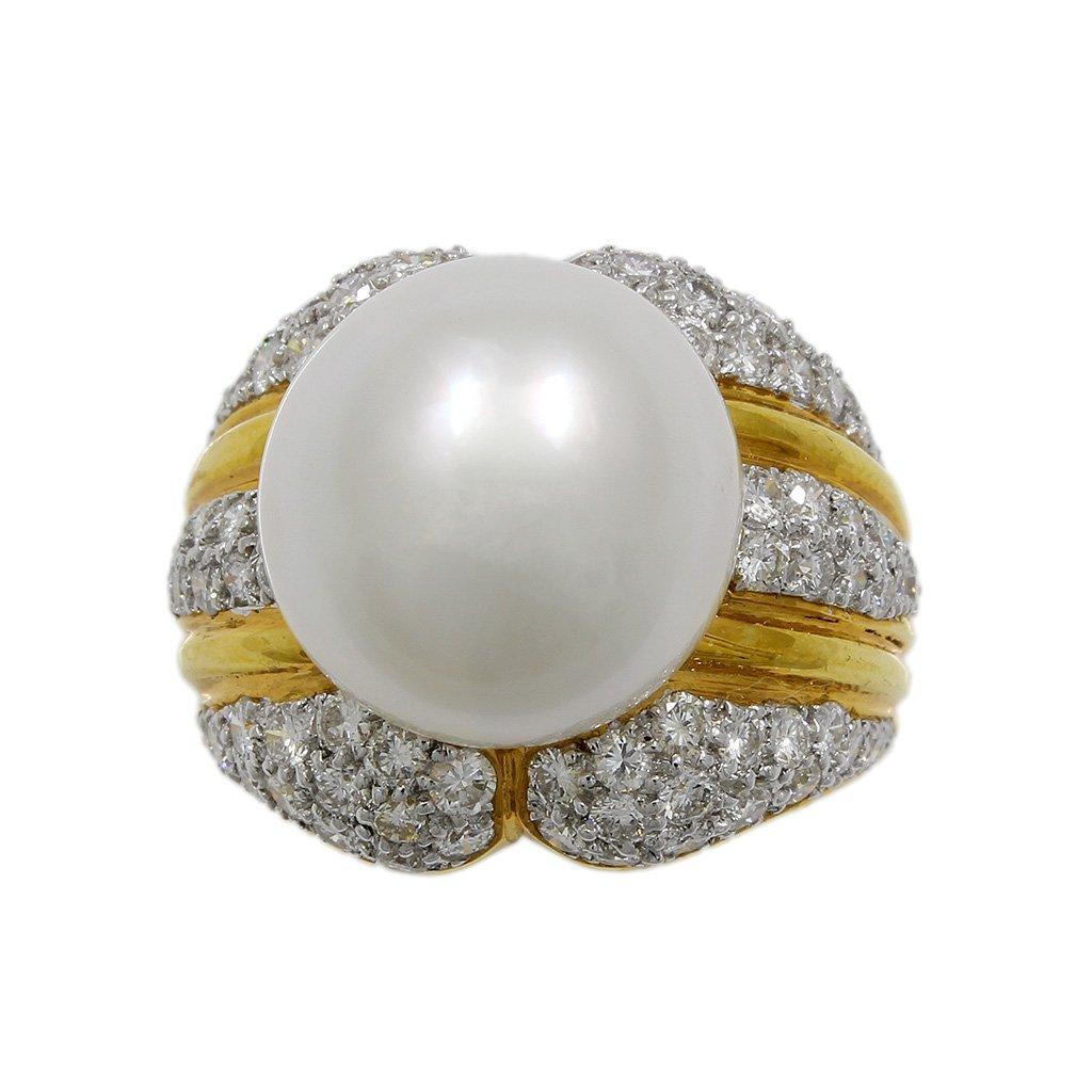 Pearl Diamond 18K Yellow Gold Ring - 5