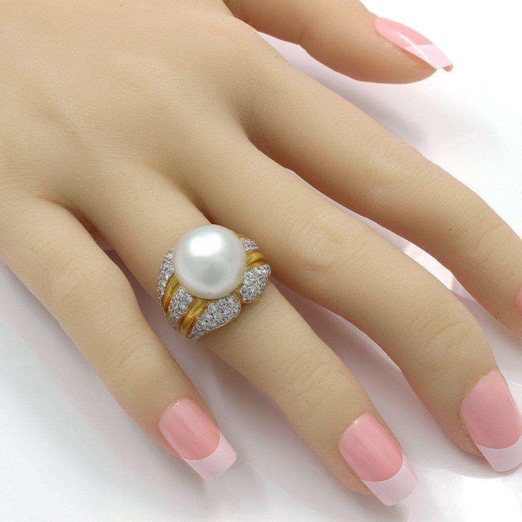 Pearl Diamond 18K Yellow Gold Ring - 6