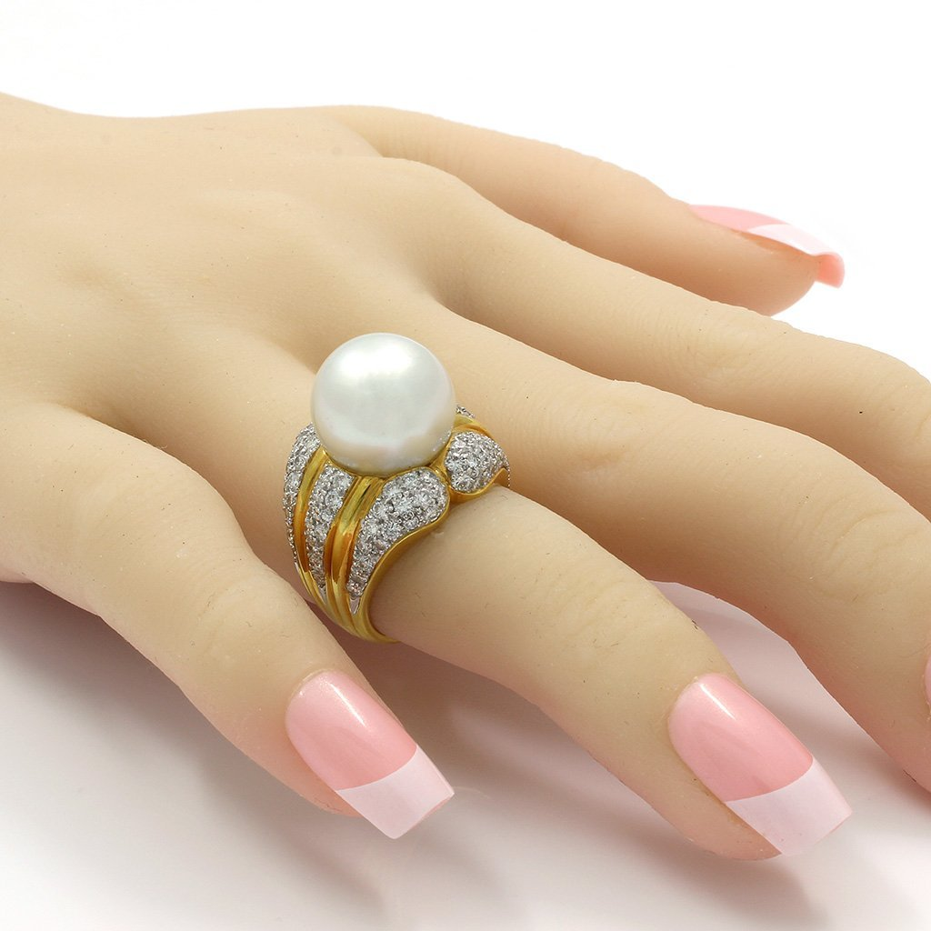 Pearl Diamond 18K Yellow Gold Ring - 7