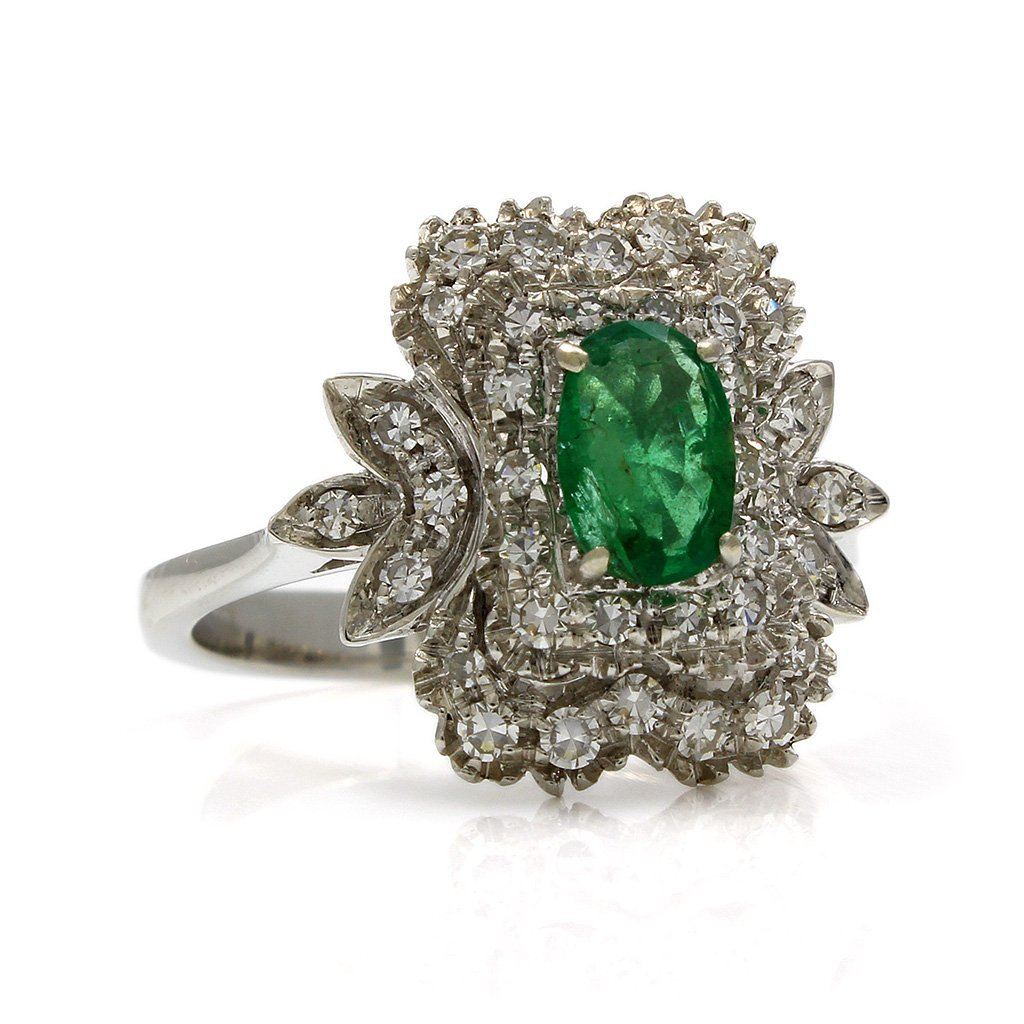 Emerald Diamond 18K White Gold Cluster Ring