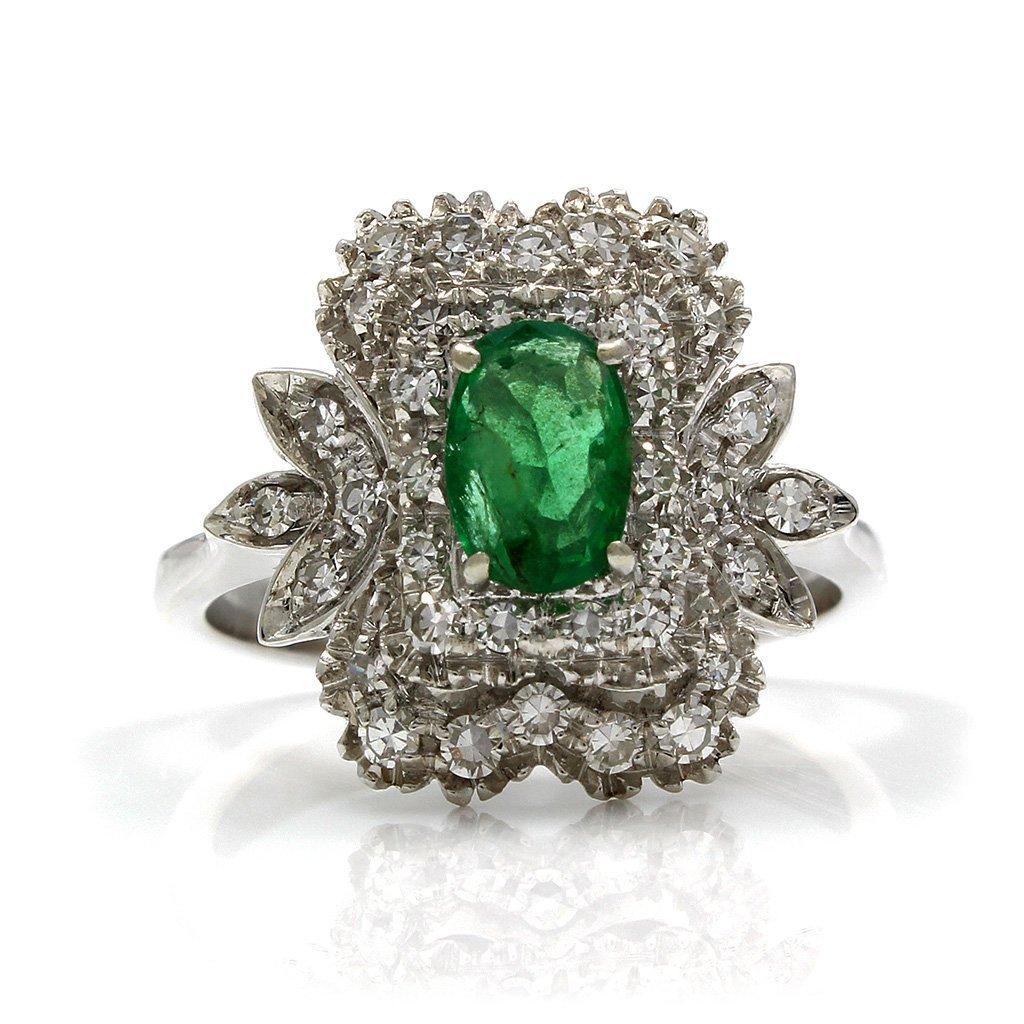 Emerald Diamond 18K White Gold Cluster Ring - 2
