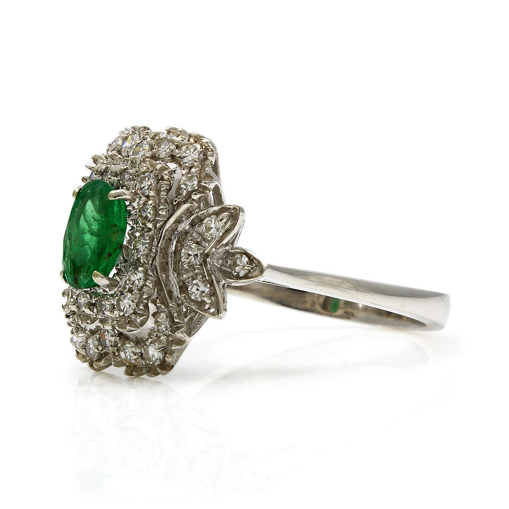 Emerald Diamond 18K White Gold Cluster Ring - 3