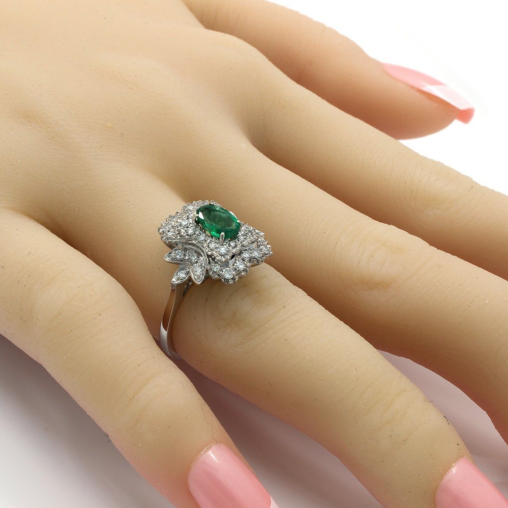 Emerald Diamond 18K White Gold Cluster Ring - 5