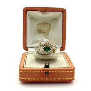 "Cartier Diamond Emerald 18K Gold ""Toi Et Moi"" Ring"