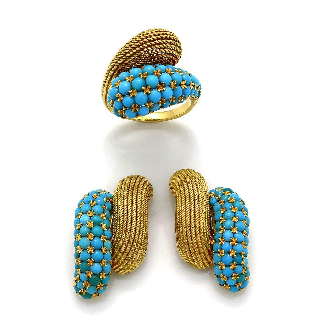 Turquoise 18K Gold Ring & Earrings Set