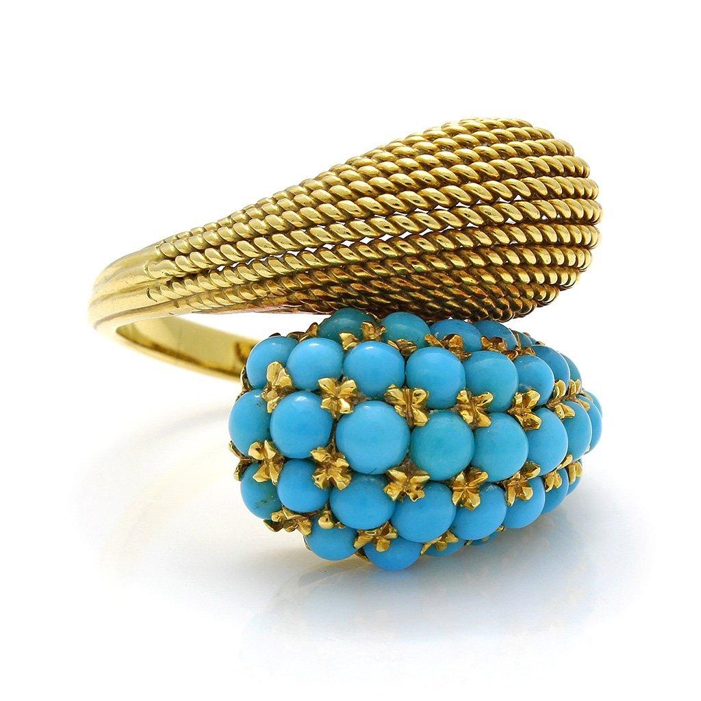 Turquoise 18K Gold Ring & Earrings Set - 2