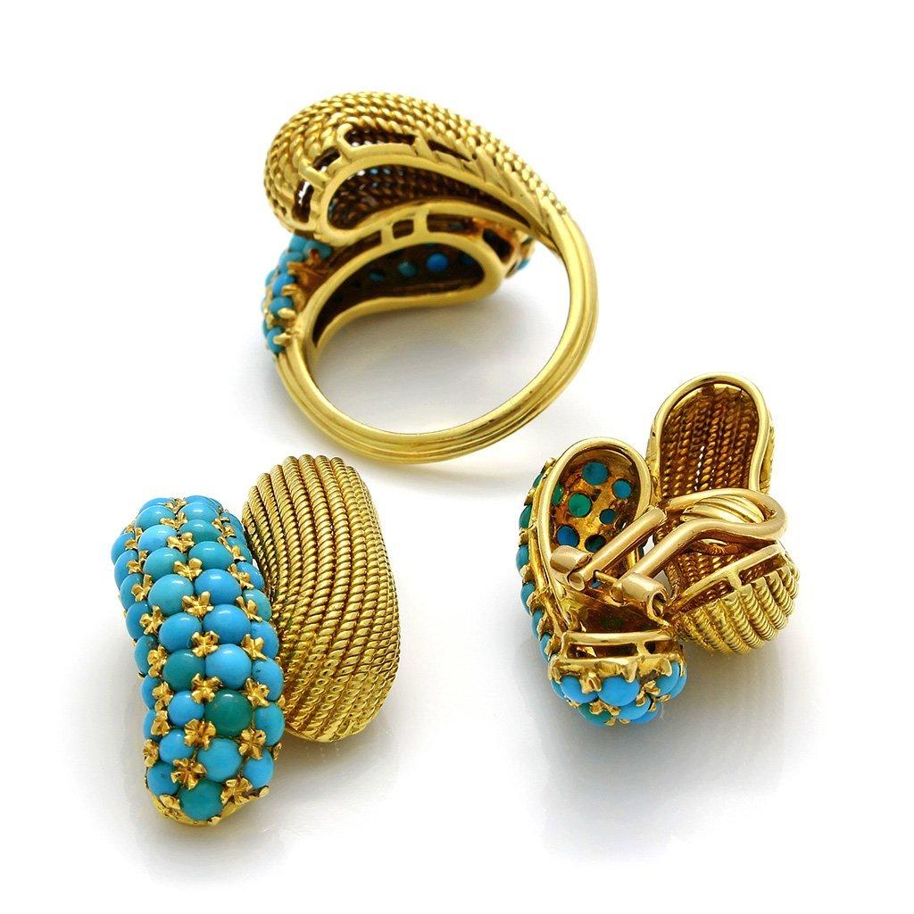 Turquoise 18K Gold Ring & Earrings Set - 4