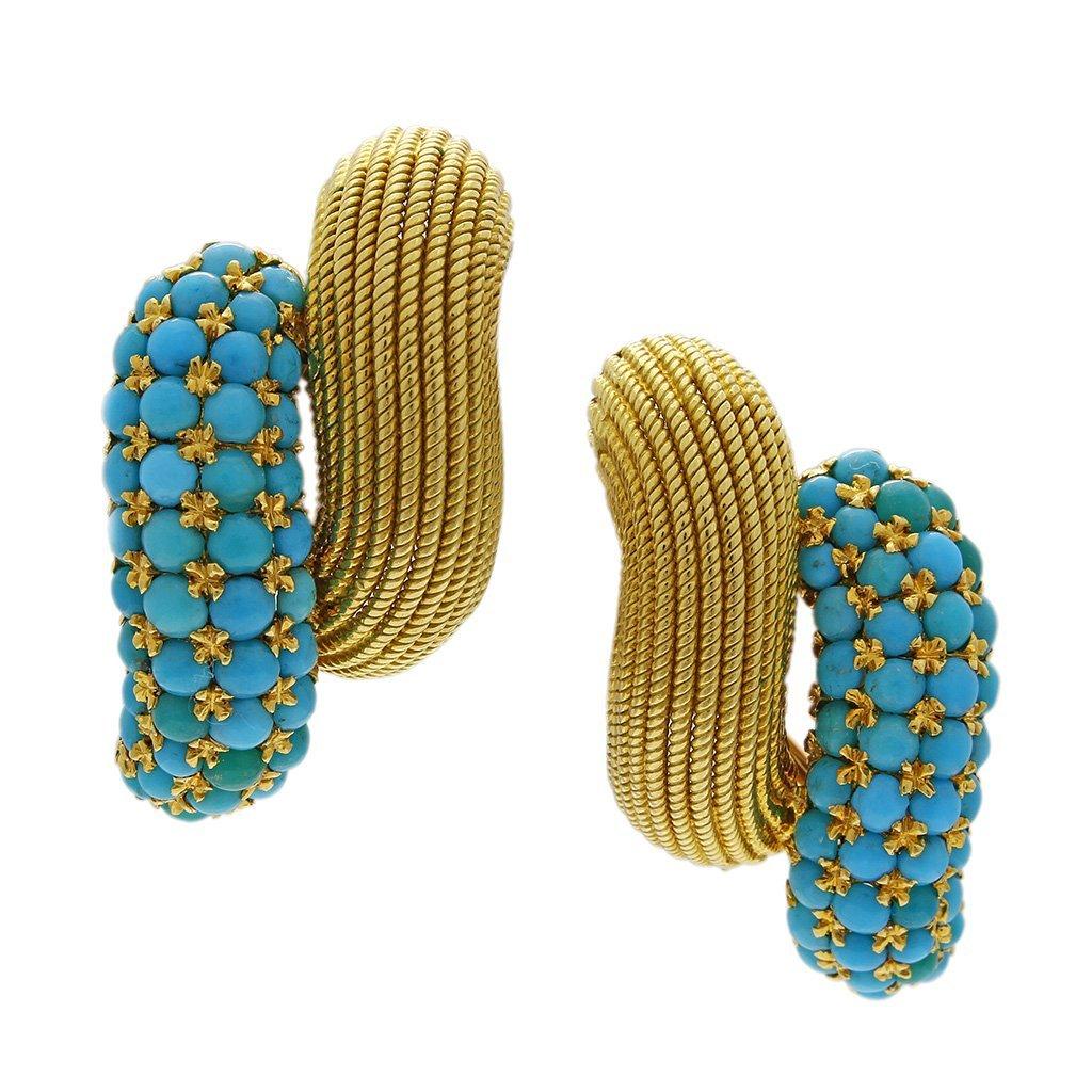 Turquoise 18K Gold Ring & Earrings Set - 5