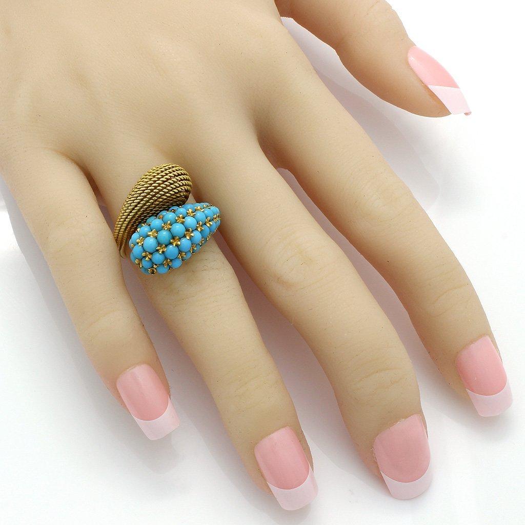 Turquoise 18K Gold Ring & Earrings Set - 6