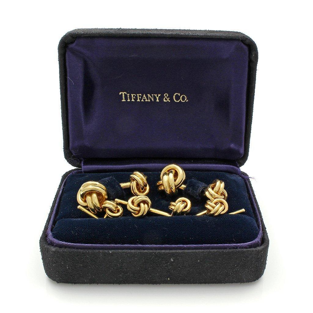 Tiffany & Co. 14K Gold Knot Stud Cufflinks Set