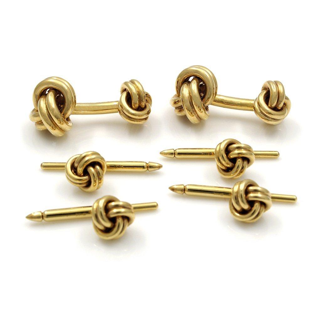 Tiffany & Co. 14K Gold Knot Stud Cufflinks Set - 2