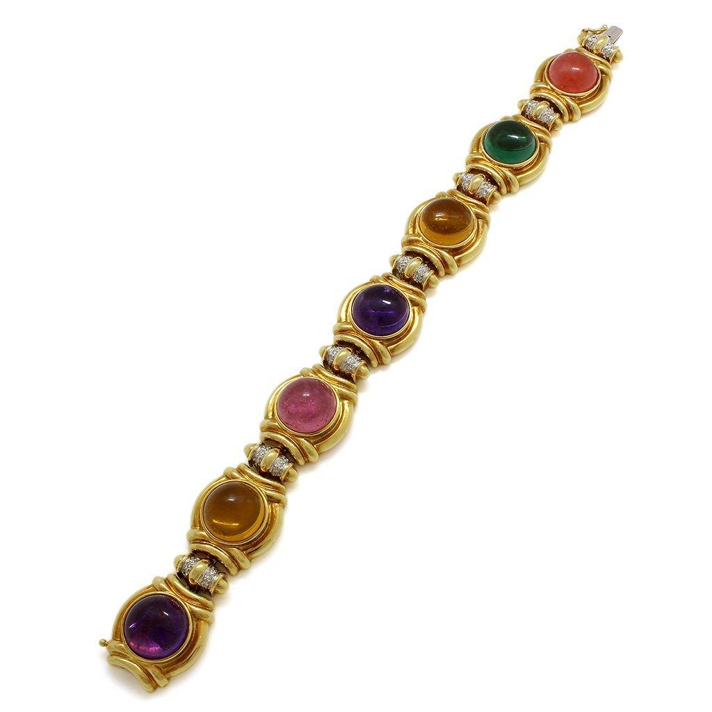 Diamond Multi Gemstone 18K Gold Bracelet