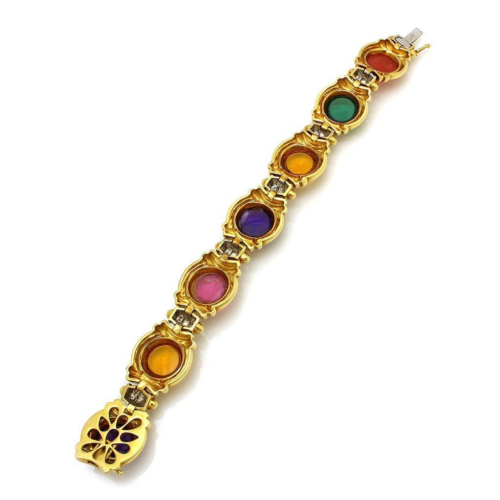 Diamond Multi Gemstone 18K Gold Bracelet - 2