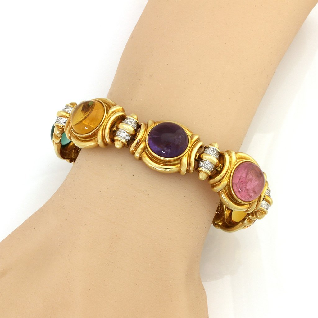 Diamond Multi Gemstone 18K Gold Bracelet - 3