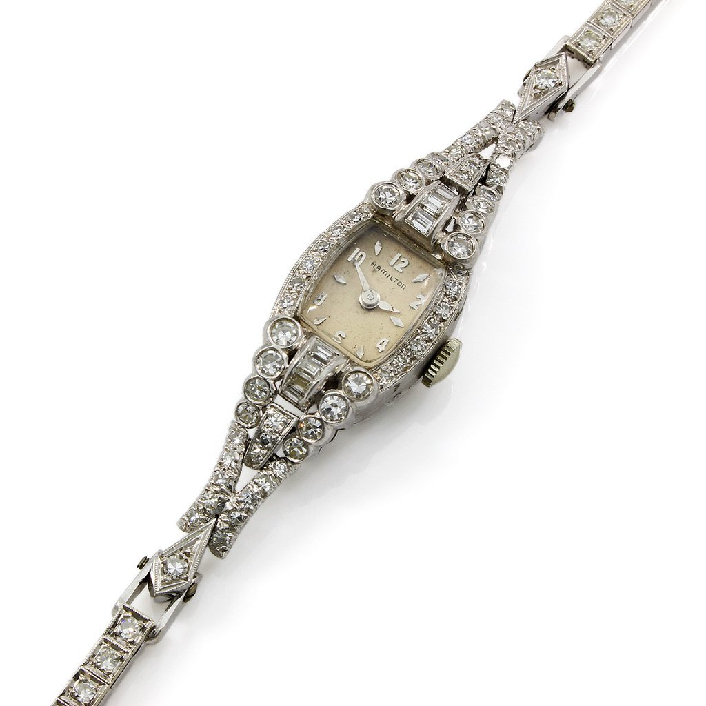Vintage Hamilton Diamond Platinum Ladies Watch