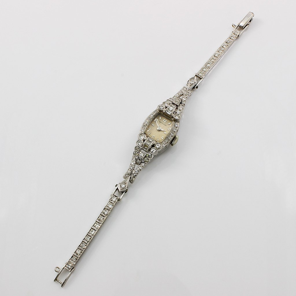 Vintage Hamilton Diamond Platinum Ladies Watch - 2