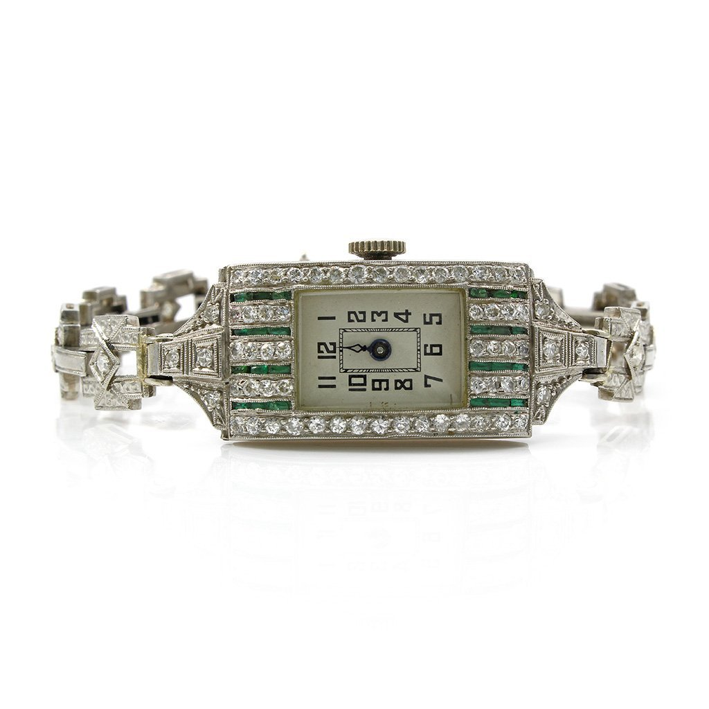 Art Deco Diamond Emerald Platinum Watch, Swiss