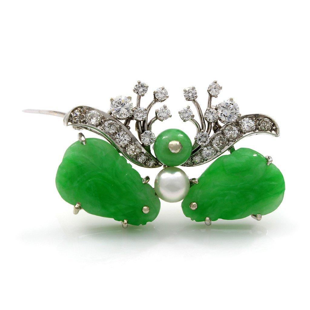 Carved Jade Diamond Pearl Brooch