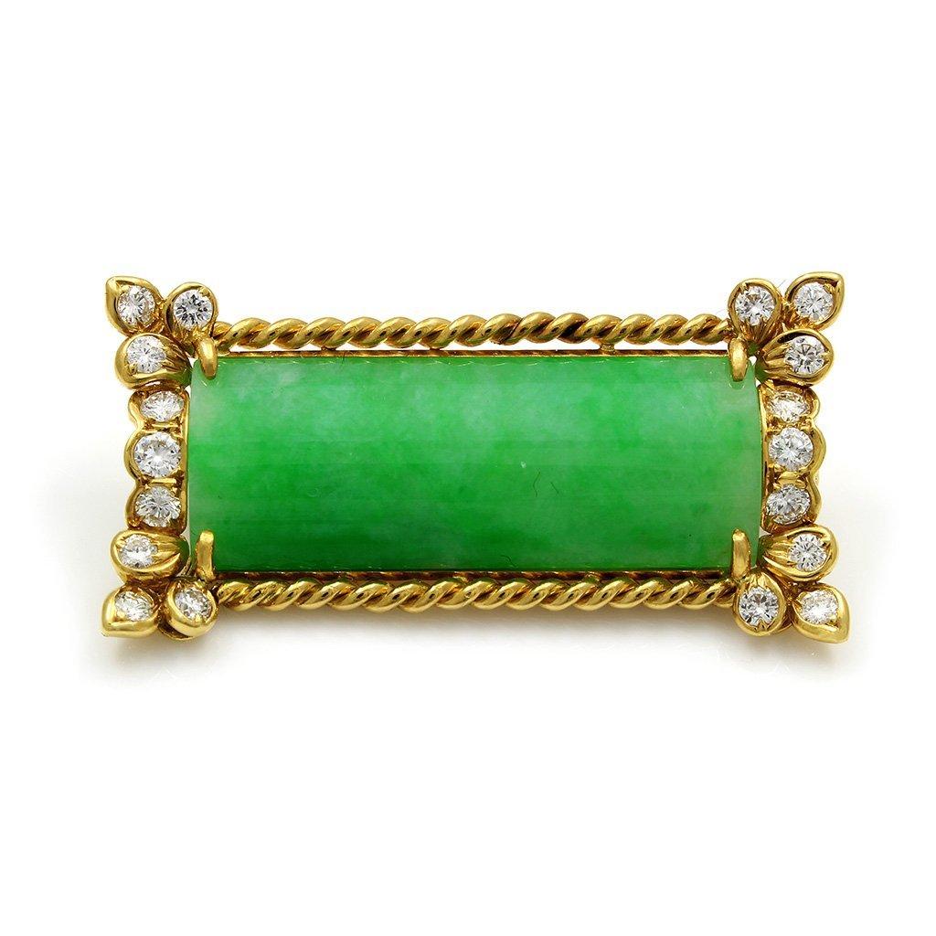 Jade Diamond 18K Gold Pin Pendant