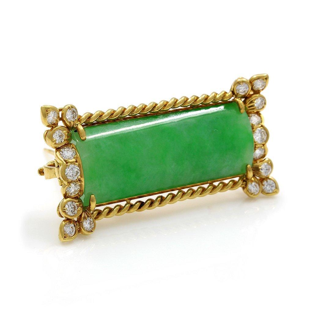 Jade Diamond 18K Gold Pin Pendant - 2