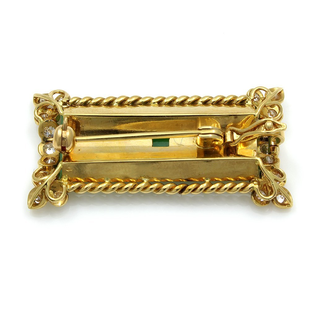 Jade Diamond 18K Gold Pin Pendant - 3