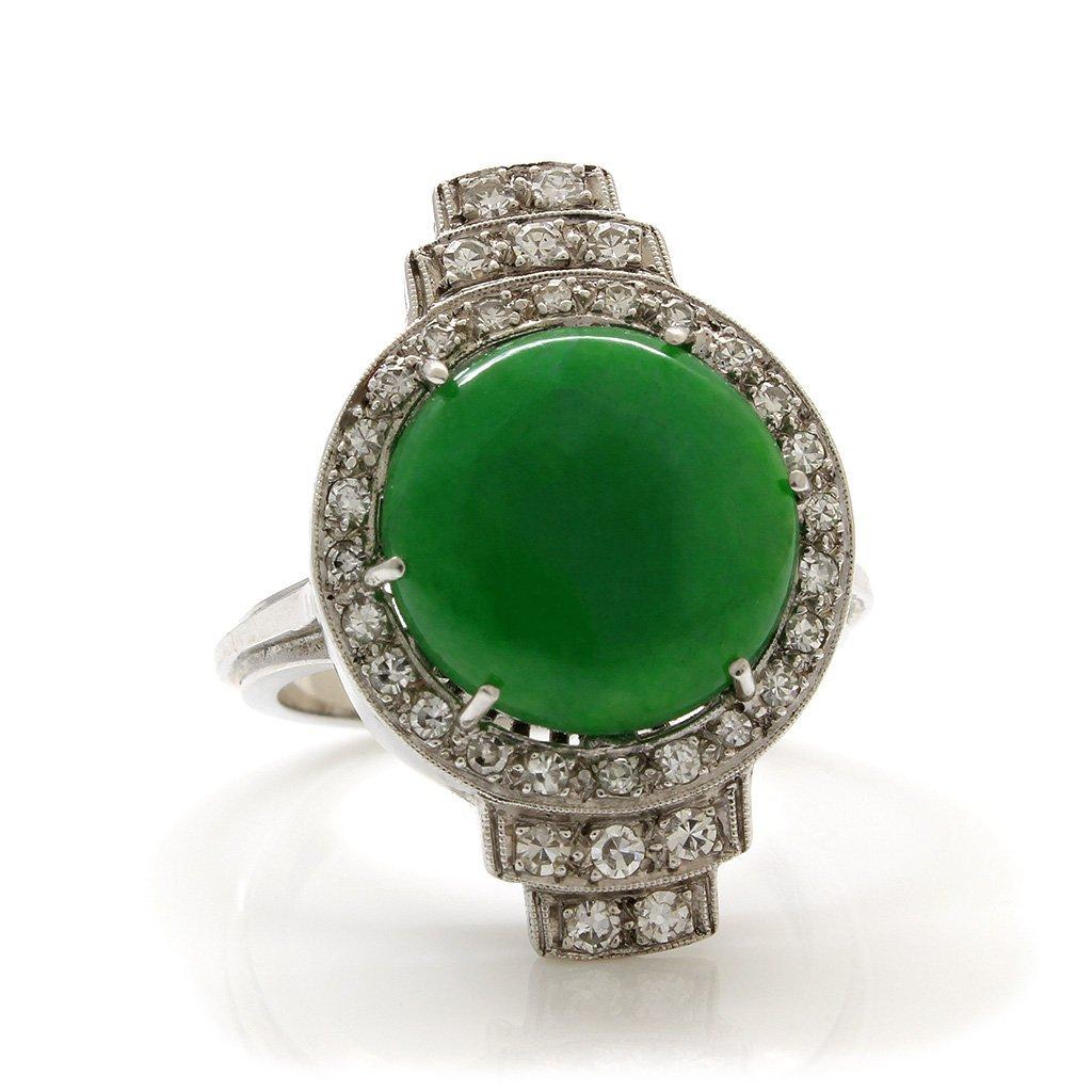 Jade Diamond Platinum Gold Ring