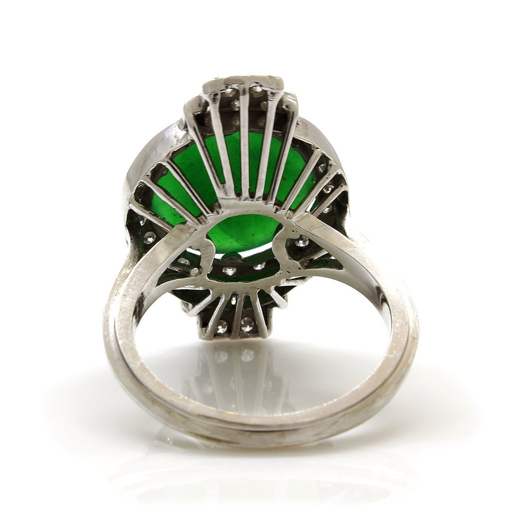 Jade Diamond Platinum Gold Ring - 2