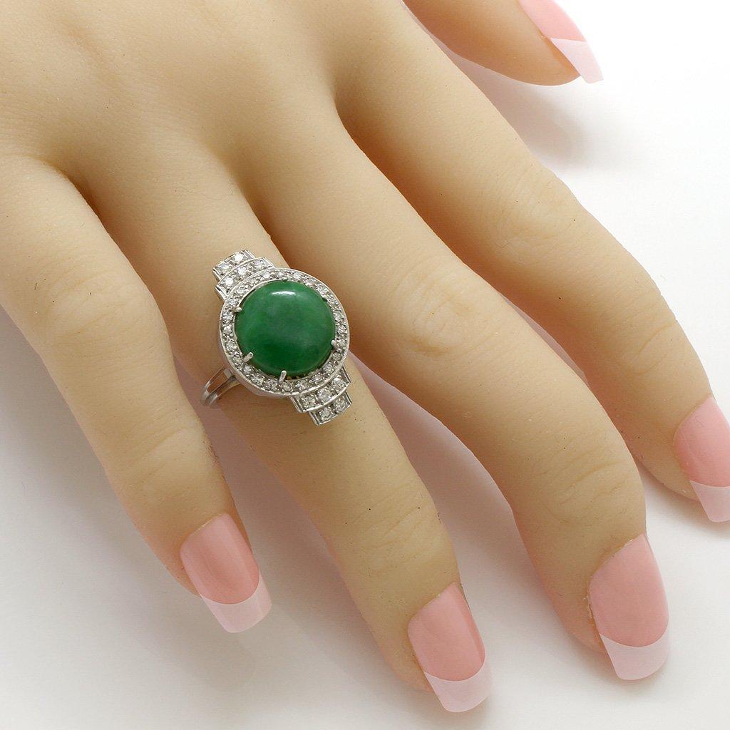 Jade Diamond Platinum Gold Ring - 3