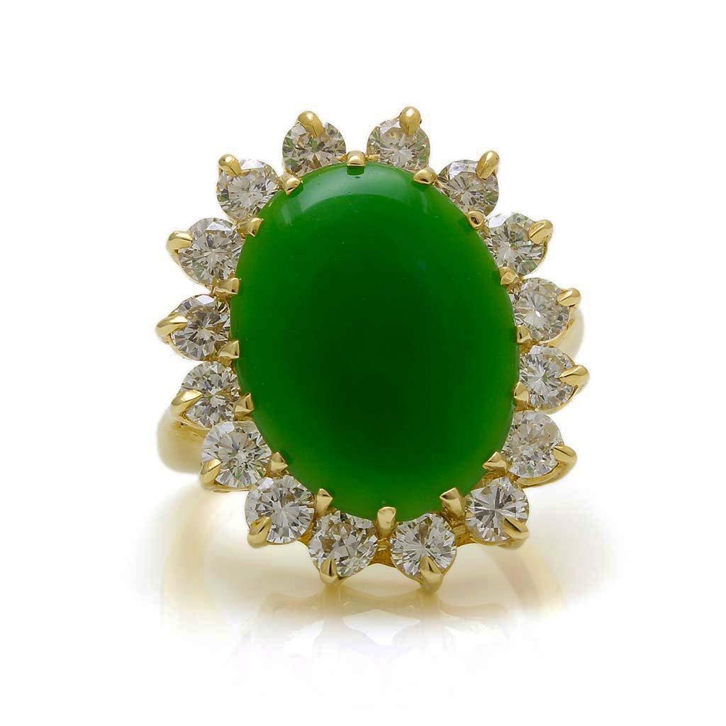 Jade Diamond 14K Gold Ring