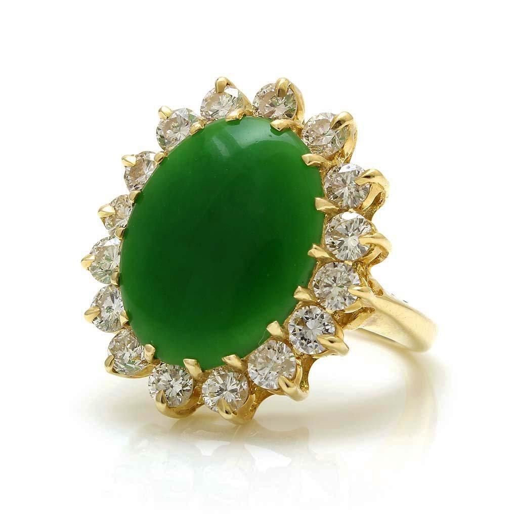 Jade Diamond 14K Gold Ring - 2
