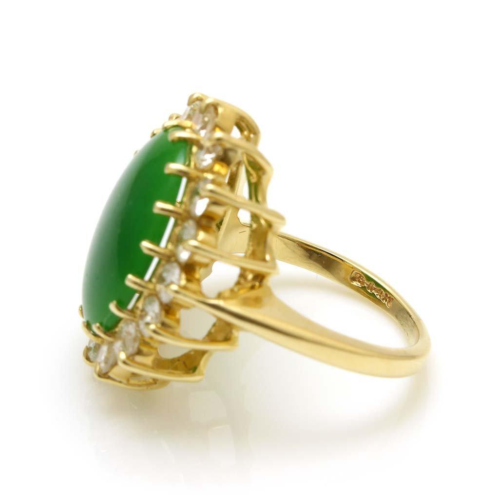 Jade Diamond 14K Gold Ring - 3