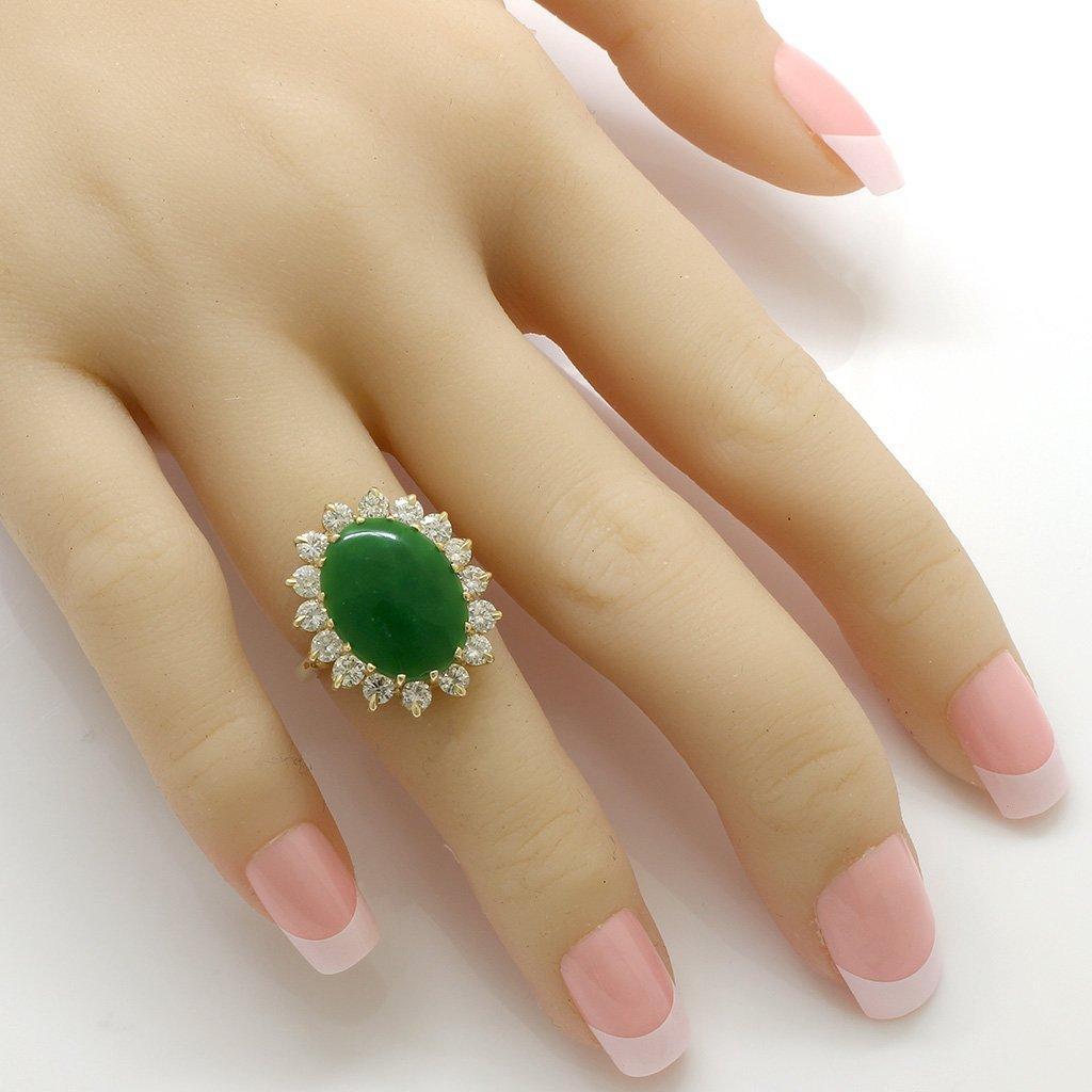 Jade Diamond 14K Gold Ring - 4