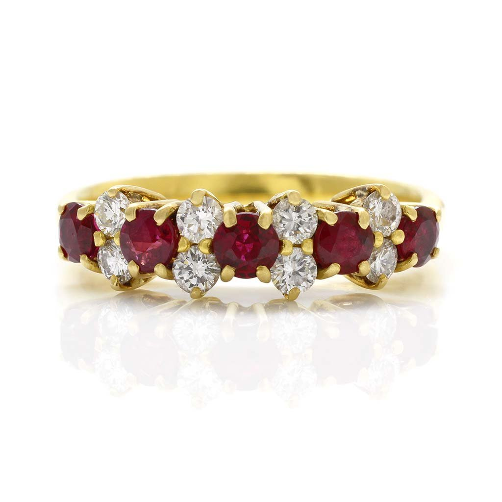 Tiffany & Co. Ruby Diamond 18K Gold Band Ring
