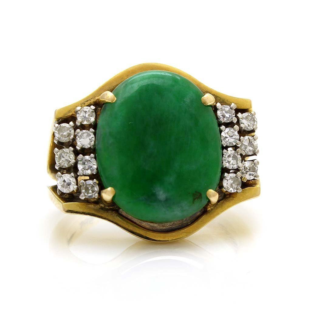 Jade Diamond 14K Yellow Gold Ring
