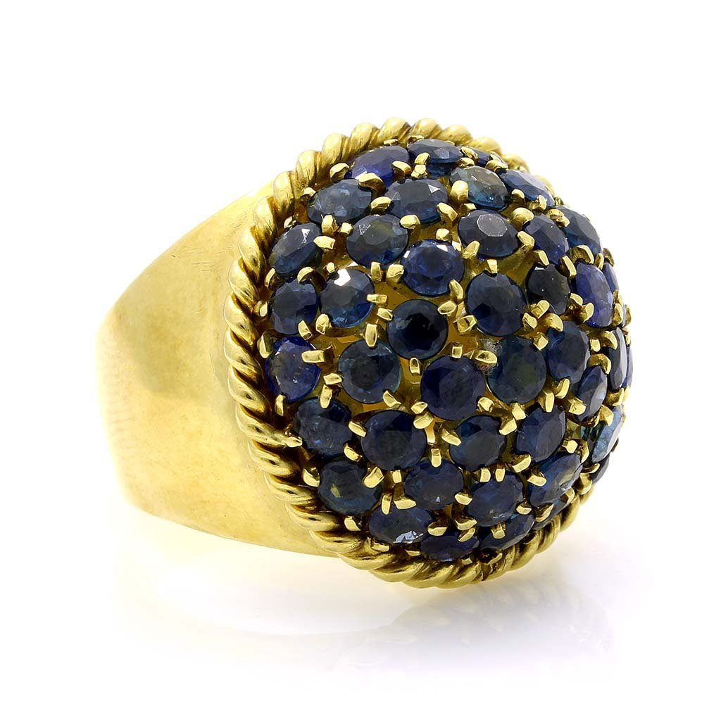 Sapphire 18K Yellow Gold Dome Cluster Ring