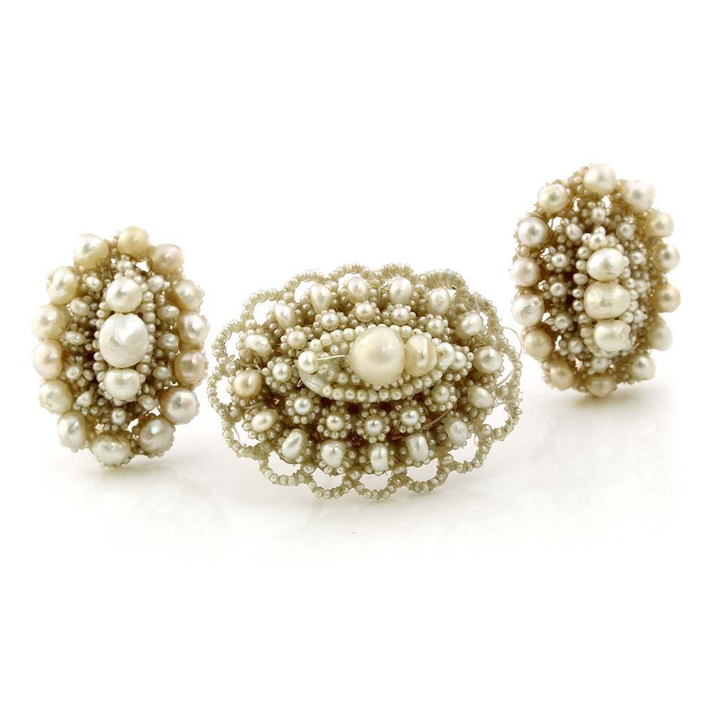 Victorian Oriental Pearl 14K Gold Pin & Earrings Set