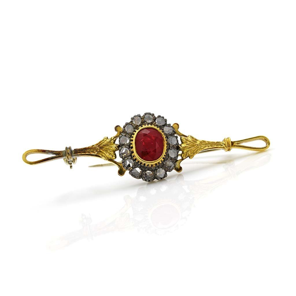 Antique Ruby & Diamond 18K Yellow Gold Pin