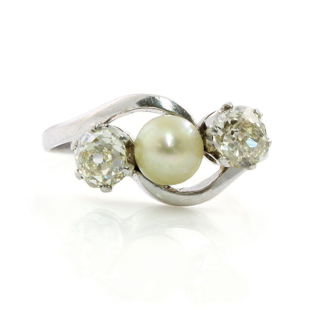 Old Mine Diamond & Natural Pearl Platinum Ring