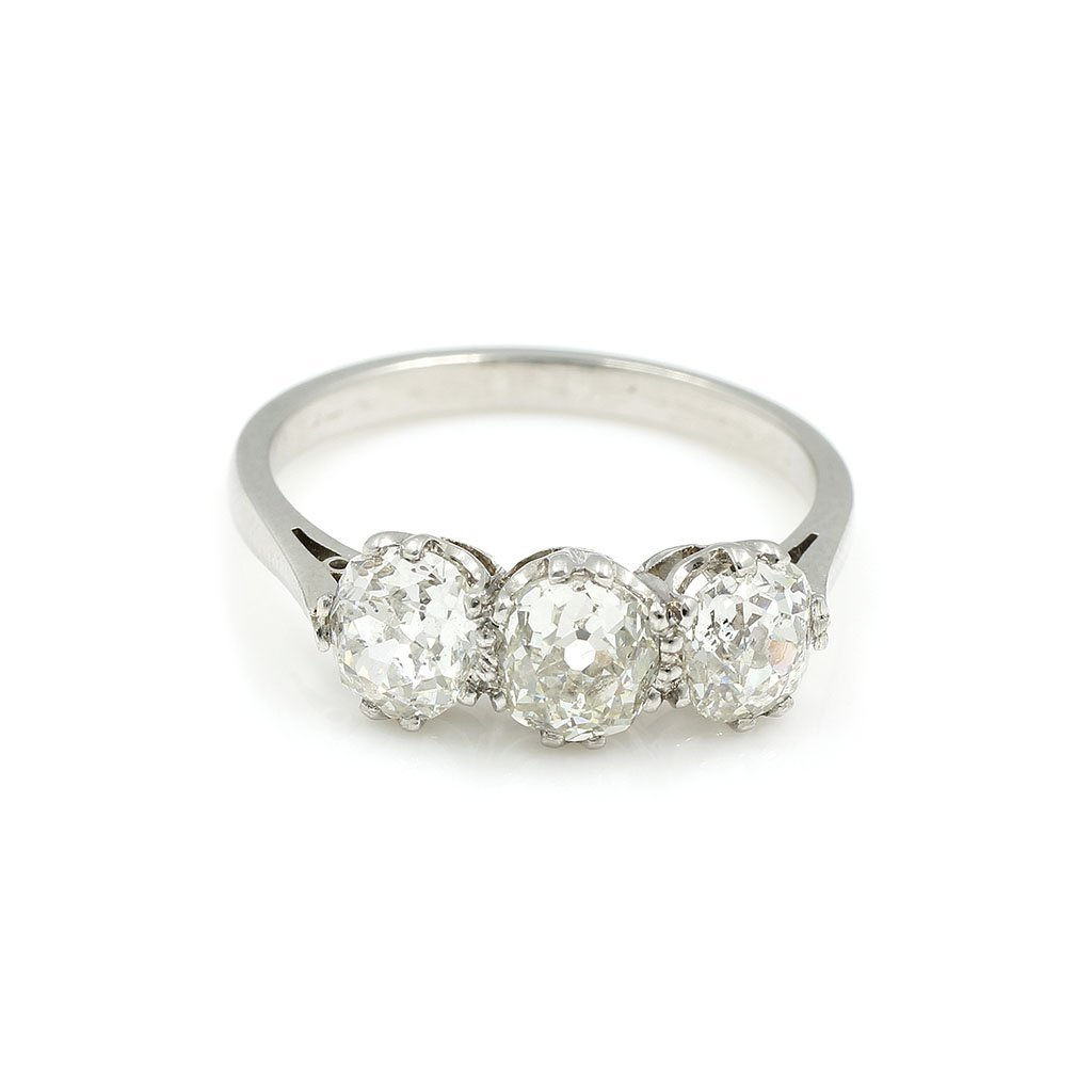 Old Mine Diamond Platinum Three Stone Ring