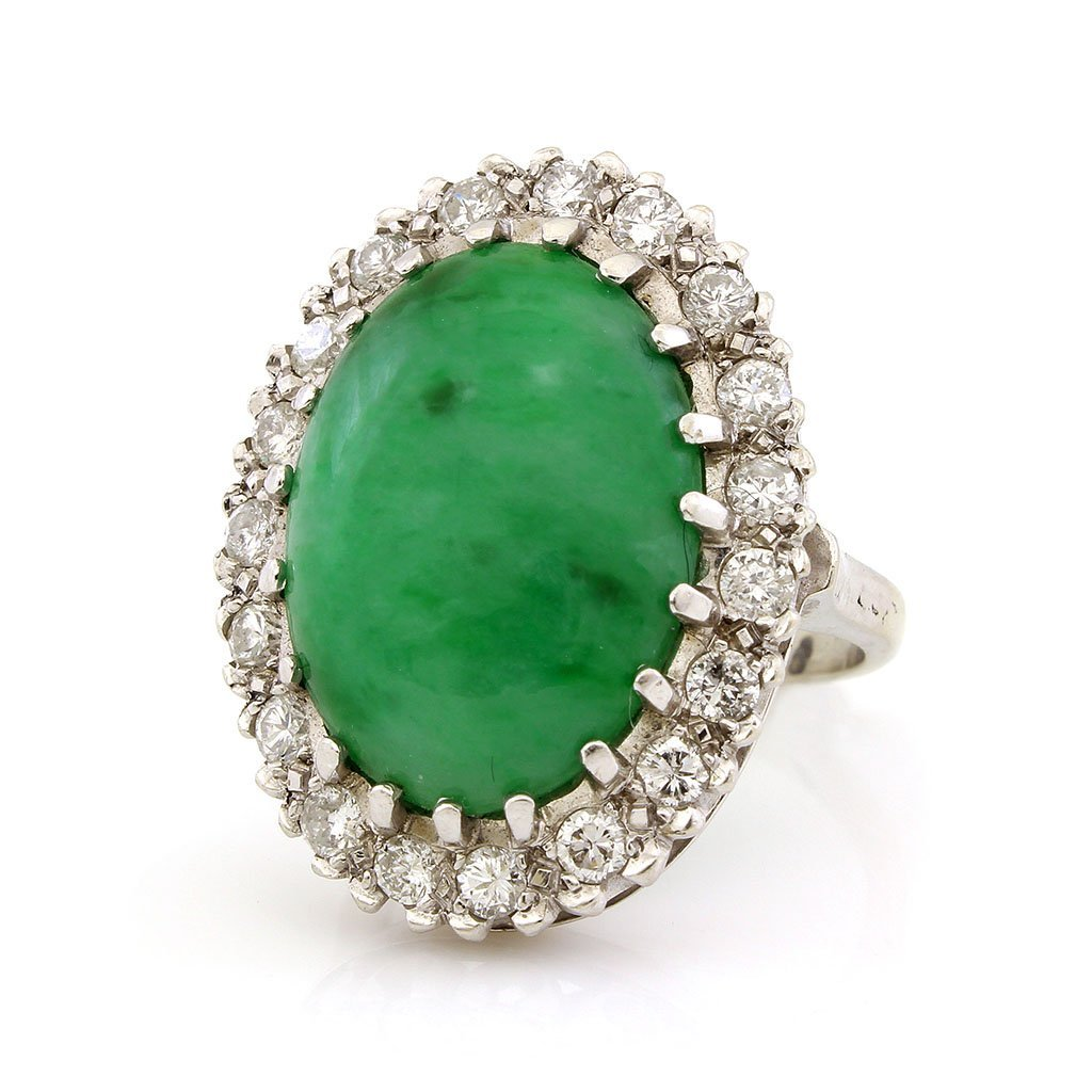 Jade & Diamond 14K White Gold Ring