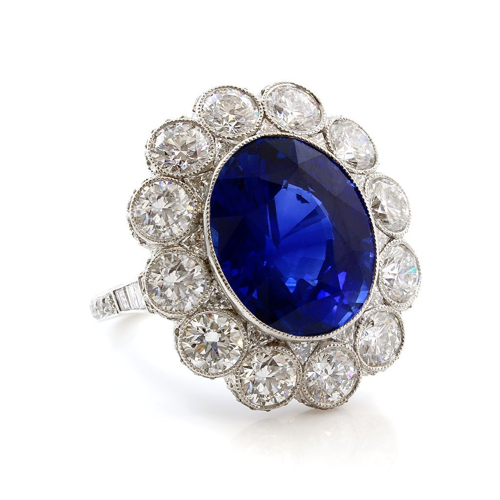 A Magnificent Sapphire & Diamond  Platinum Ring