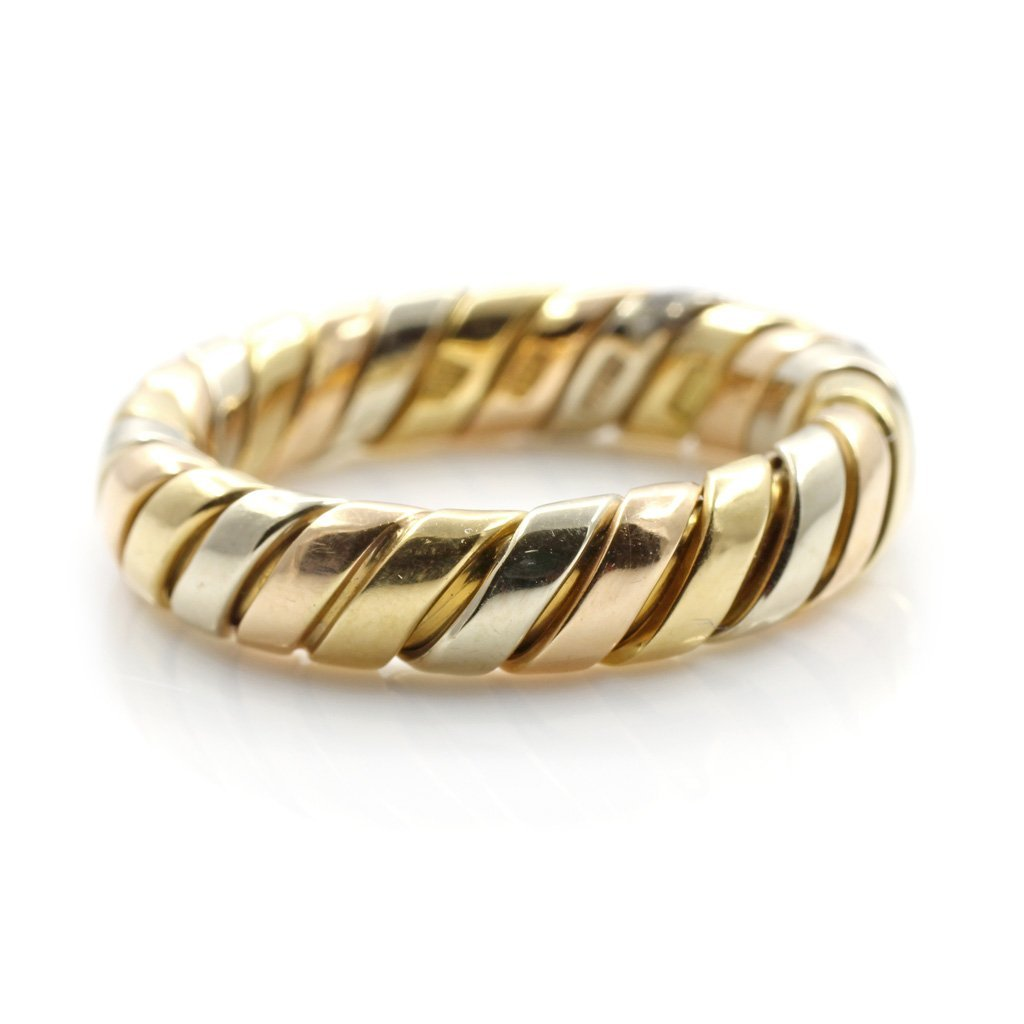 Bulgari 18K Tri Color Gold Tubogas Ring