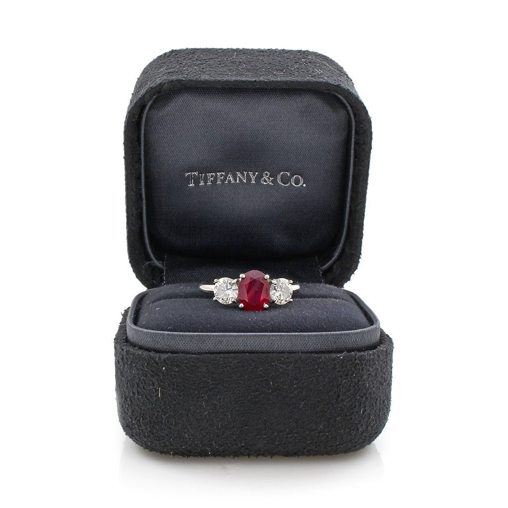 Tiffany & Co. Ruby & Diamond Platinum Three Stone Ring