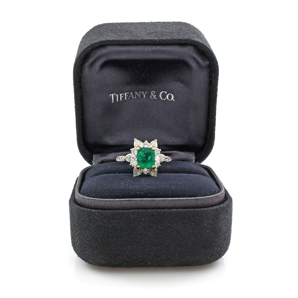 Tiffany & Co. Emerald & Diamond Platinum Ring