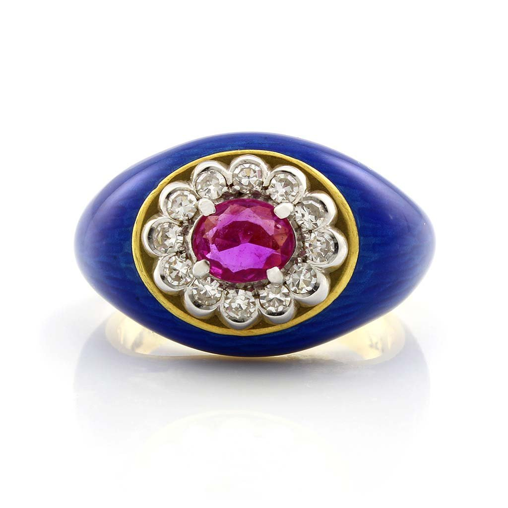 Ruby, Diamond & Enamel 18K Gold Ring