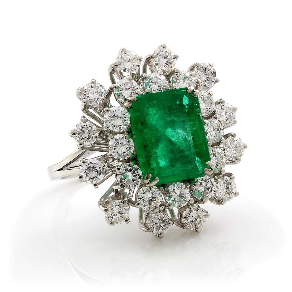 Emerald & Diamond 18K White Gold Cluster Ring